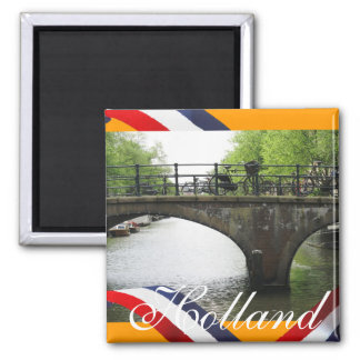 Holland Canal Bridge Orange Fridge Magnet