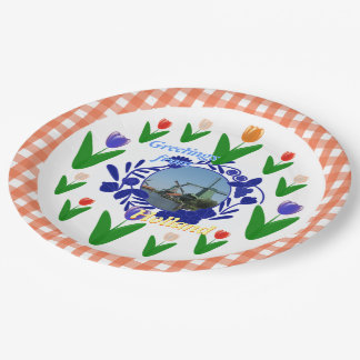 Holland Delftware Style Tulips Floral Pattern Paper Plate