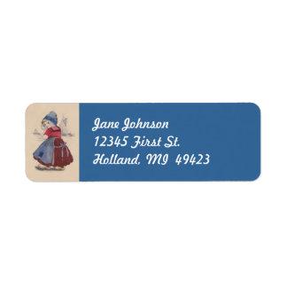 Holland Dutch Girl traditional Dress Address Label