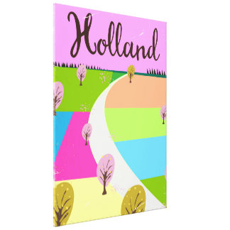 Holland fields travel poster canvas print