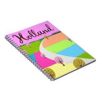 Holland fields travel poster notebook