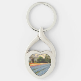 Holland Flowers Silver-Colored Twisted Heart Key Ring