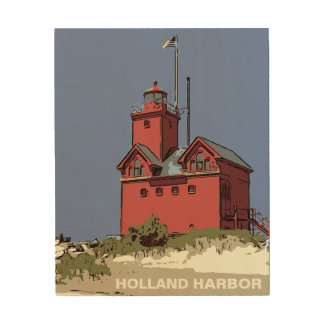 HOLLAND HARBOR LIGHT WOOD WALL ART