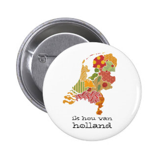 Holland Province Map Bohemian Patchwork Style 6 Cm Round Badge