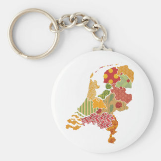 Holland Province Map Bohemian Patchwork Style Basic Round Button Key Ring