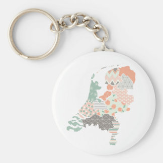Holland Province Map Geometric Patchwork Style Basic Round Button Key Ring