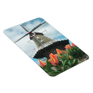 Holland Spring Tulip Flowers Time Windmill Rectangular Photo Magnet