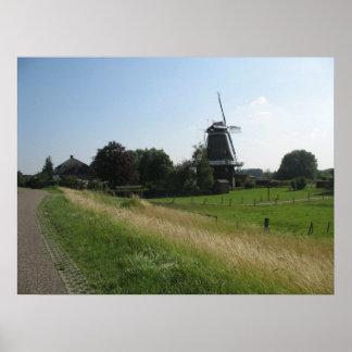 Holland Windmill Landscape Photo Poster Print