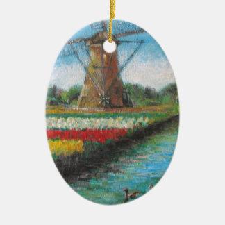 Holland Windmill Tulip Fields Painting Ceramic Ornament