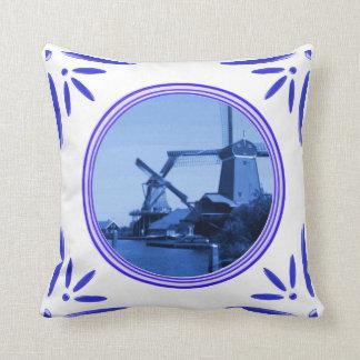 Holland Windmills Amsterdam Delft-Blue-Tile-Look Cushion
