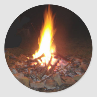 Holliday Camp Fire Round Sticker
