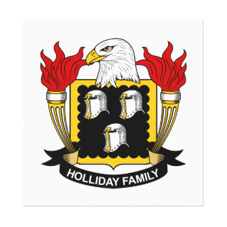 Holliday Family Crest Stretched Canvas Prints