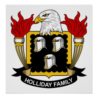 Holliday Family Crest Posters