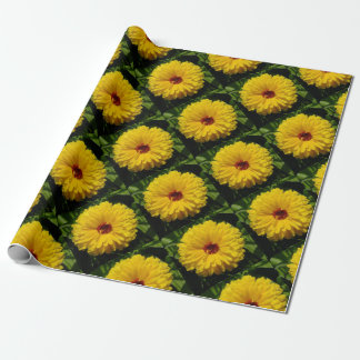 Holligold Blossoming Yellow Pot Marigold Flower Wrapping Paper