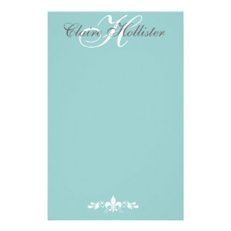 Hollister Monogram  Pale Blue Feminine Personal Stationery Paper