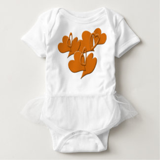 Hollow and Solid Orange Hearts Baby Bodysuit