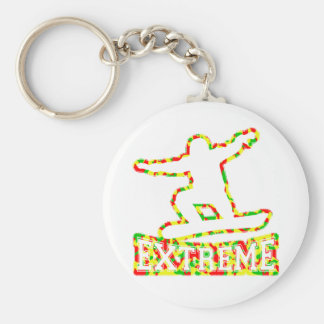 HOLLOW EXTREME SNOWBOARDER IN RGY CAMO BASIC ROUND BUTTON KEY RING