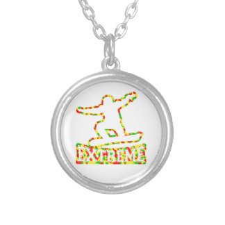 HOLLOW EXTREME SNOWBOARDER IN RGY CAMO SILVER PLATED NECKLACE