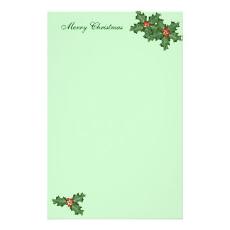Holly and Berries, Christmas Writing Paper Custom Stationery