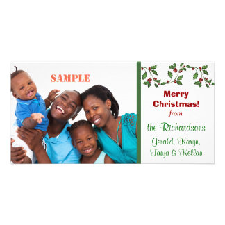 Holly and Berries Holiday Photo Card Template