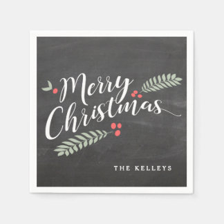 Holly and Berries Merry Christmas Holiday Disposable Napkins