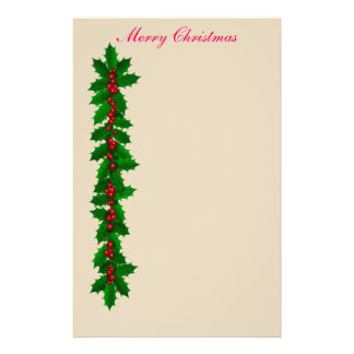 Holly and Berries Merry Christmas Stationery