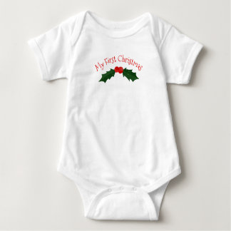 Holly and Berries My First Christmas Baby Bodysuit