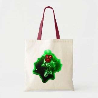 Holly and Berries Shaped Christmas Tote Bag
