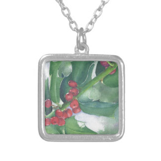 Holly and Berries Silver Plated Necklace