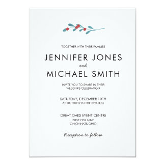 Holly and Berries Winter Wedding Invitation