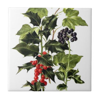 holly and ivy design Christmas Ceramic Tile