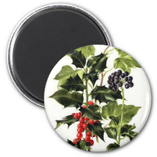 holly and ivy design Christmas Magnet