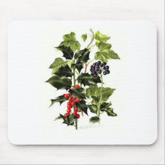holly and ivy design Christmas Mouse Pad