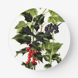 holly and ivy design Christmas Round Clock