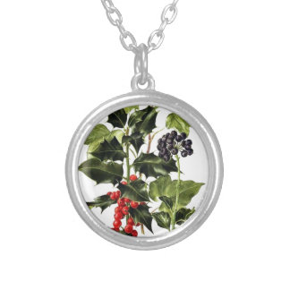 holly and ivy design Christmas Silver Plated Necklace