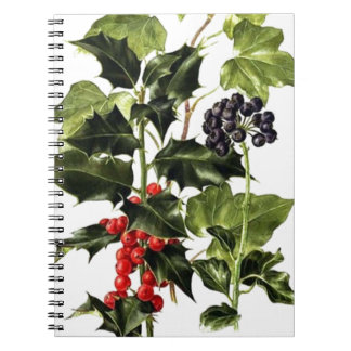 holly and ivy design Christmas Spiral Notebook
