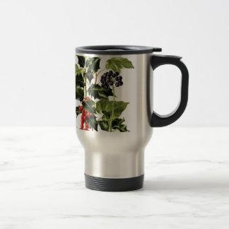 holly and ivy design Christmas Travel Mug