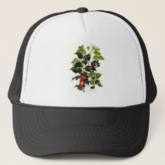 holly and ivy design Christmas Trucker Hat