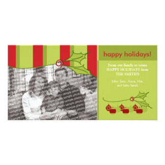 Holly and Ivy Happy Holidays Custom Template :: 01 Photo Greeting Card