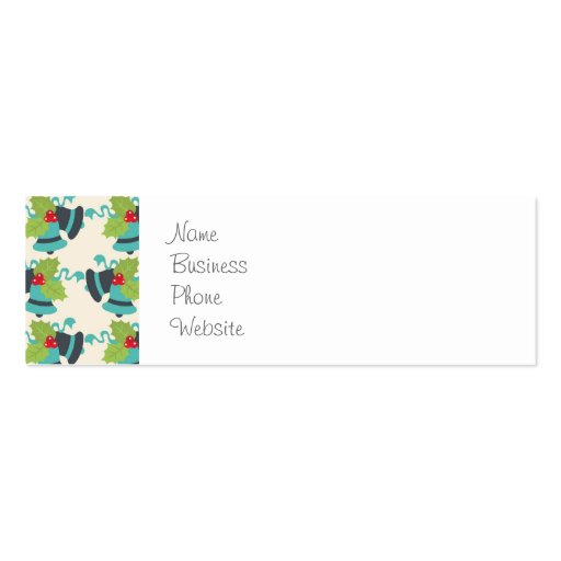 Holly and Jingle Bells Retro Christmas Pattern Business Card