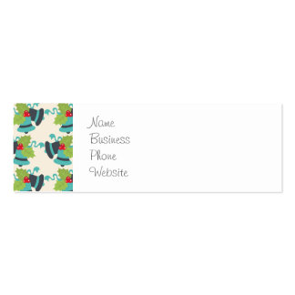Holly and Jingle Bells Retro Christmas Pattern Pack Of Skinny Business Cards