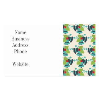 Holly and Jingle Bells Retro Christmas Pattern Pack Of Standard Business Cards