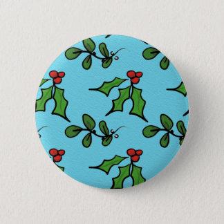 Holly and Mistletoe 6 Cm Round Badge