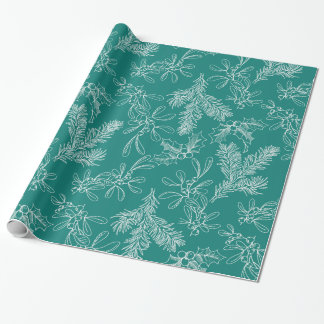 Holly and Mistletoe Christmas Wrapping Paper
