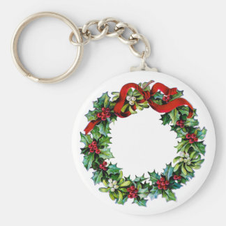 Holly and Mistletoe Christmas Wreath w/red Ribbon Basic Round Button Key Ring