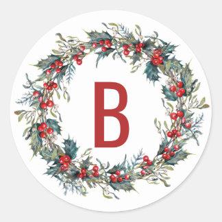 Holly and Mistletoe Wreath Monogram Stickers