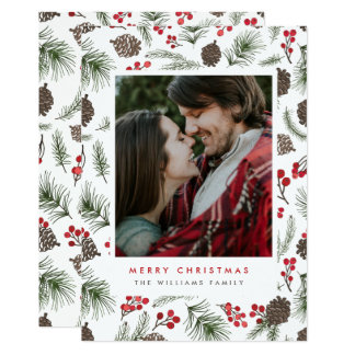Holly and Pine Christmas Photo Cards