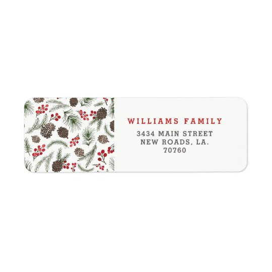 Holly and Pine Christmas Return Address Label