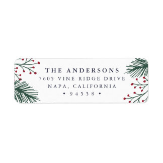 Holly and Pine   Holiday Return Address Return Address Label