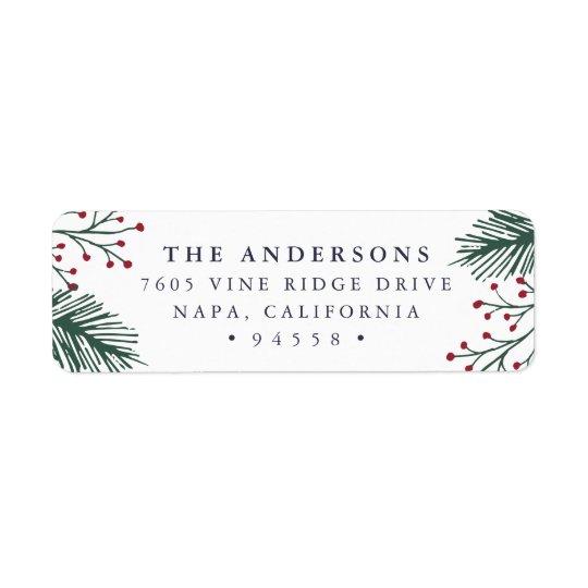 Holly and Pine | Holiday Return Address Return Address Label